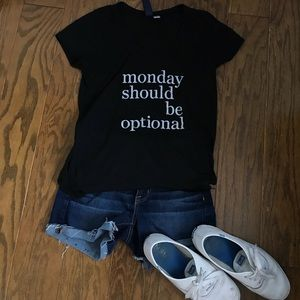 'Mondays should be optional' black graphic tee